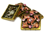 2pc Padparacha Square Slide Bead Antique Brass
