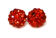 1pc 6mm rhinestone clay round siam red
