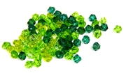 20pc 4mm crystal bicones green & emerald mix