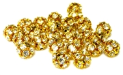 6pc rhinestone rounds gold plated clear crystal 6mm