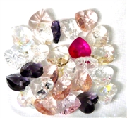 6pc crystal heart drops pink purple clear mix 10mm