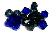 6pc crystal bicones blue mix 8mm