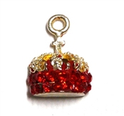 1pc crystal pave charm silver plated Red Crown