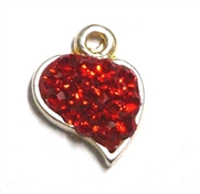 1pc crystal pave charm silver plated Small Heart Red