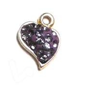 1pc crystal pave charm silver plated Small Heart Tanzanite Purple