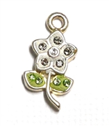 1pc crystal pave charm silver plated White Flower