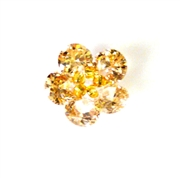 1pc cubic zirconia flowers champagne 15mm