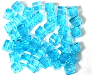 10pc Faceted Crystal Cubes Aquamarine Blue 6mm