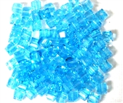 15pc Faceted Crystal Cubes Aquamarine Blue 4mm
