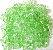15pc Faceted Crystal Cubes Peridot Green 4mm