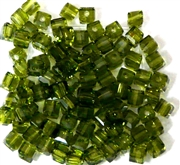 15pc Faceted Crystal Cubes Olive Green 4mm