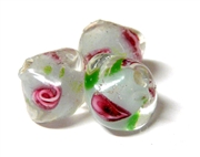 1pc indian glass Pink and Blue Flower Bicones 8mm