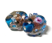 1pc indian glass Blue Flower Oval 8mm