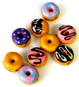 2pc porcelain painted donuts assorted 10mm