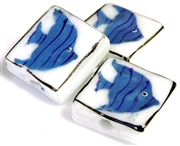 1pc porcelain blue fish square