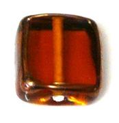 1pc handmade czech glass square topaz copper edge 8mm