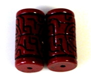 2pc resin tubes oriental design red black 20x10mm