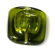 1pc czech handmade glass olivine green square bubble