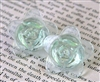 2pc glass flower 20mm peridot green