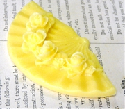 1pc Resin Oriental Fan Charm Yellow