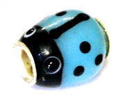 1pc large hole glass bead blue ladybug/silver