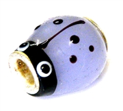 1pc large hole glass bead purple ladybug/silver