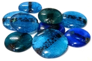 3pc assorted indian glass cabochons blue