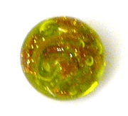 1pc venetian glass round green w/aventurine