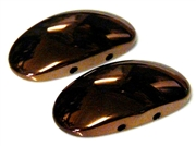 2pc resin metallic 2 strand oval chocolate