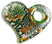 1pc glass foil heart pendant emerald green