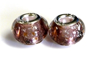2pc large pandora style bead silver plated amethyst