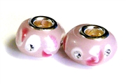 2pc large pandora style bead silver plated pink spots w/stones