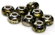 2pc large pandora style bead metallic black mix