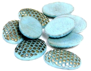 3pc glass cabochon blue eggshells oval