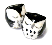2pc porcelaine owl beads black