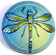 1pc czech glass button matte jet ab dragonfly