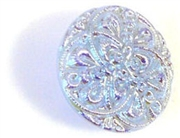 1pc czech glass button 18mm light sapphire ab weave