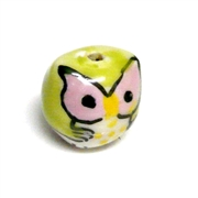 2pc porcelaine owl beads light green