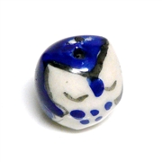 2pc porcelaine owl beads dark blue