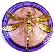 1pc czech glass button pink purple dragonfly 42mm