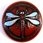 1pc czech glass button 26mm red dragonfly