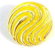 1pc czech glass button 18mm yellow ab wave