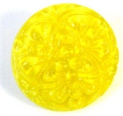 1pc czech glass button 18mm yellow weave