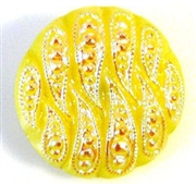 1pc czech glass button 18mm yellow ab weave