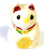 1pc porcelain fortune kitty bead 22x15mm