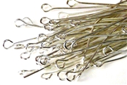100pc 50mm eyepins silver plated