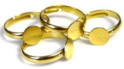4pc gold plated ring bases w/6mm pad