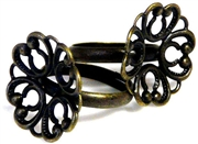 2pc brass ring base w/filigree flower 20mm