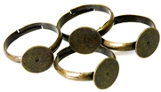 4pc antique brass ring base w/pad