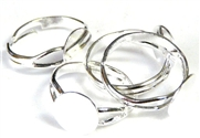 4pc silver plated ring base w/pad